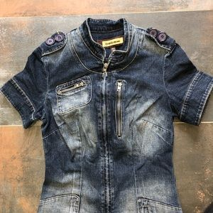 Bebe Jeans Mini Denim Dress